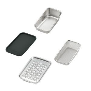 株式会社ツボエ おろし金部と容器、水切りザル、シリコーン蓋(敷板)
